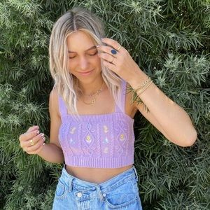 NWT zara floral embroidered crop top